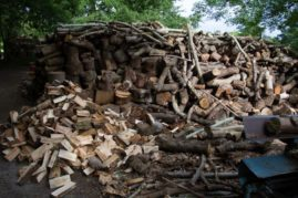 seasoned logs and woodchip