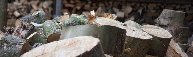 seasoned logs and woodchip